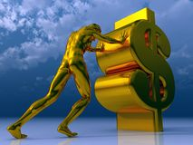 Dollar. Man figure pushes dollar sign under cloudy blue sky - 3d illustration Stock Photography