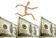 Dollar. Jumping over dollar with white background Stock Photo