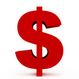 Dollar. Red symbol isolated on white background Stock Image
