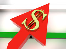 Dollar. Chart and dollar. 3d object royalty free stock image