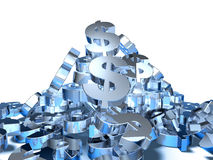 Dollar. Mountain of dollars, 3d generated Royalty Free Stock Photography