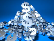 Dollar. Mountain of dollars, 3d generated Royalty Free Stock Image