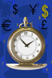The Dollar. Timepiece surrounded by dollar, pound, yen and euro symbols Stock Images