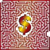 Dollar 3D Maze. Find the way to dollar through this 3D maze Royalty Free Stock Photos