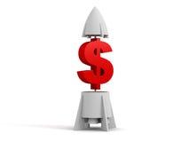 Dollar 3d mit einer Rakete Stockbild