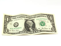 Dollar. One dollar isolated on a white background Stock Photos