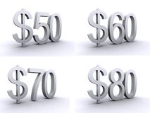dollar 50.60.70.80 stock illustratie