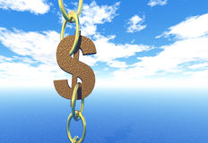 Dollar. The dollar sign in chains Stock Photography