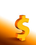 Dollar. Golden dollar symbol with copy space (3d rendering Stock Image