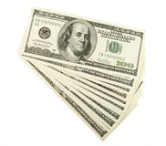 Dollar 6. Close up of  one hundred dollars bills on white background with clipping path Stock Photos