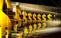 Dollar. Digital illustration of dollar in golden colour stock illustration