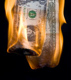 Dollar. In fire. Finance crisis Stock Image