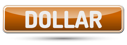 DOLLAR - Abstract beautiful button with text. Royalty Free Stock Photos