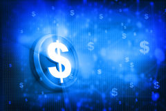 Dollar on abstract blue background. 3d render Stock Images
