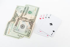 Dollar and ace on white Stock Photography