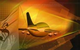 Dollar and aeroplane Stock Photo