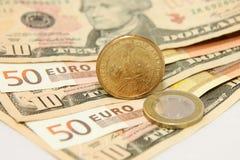 Dollar against Euro Royalty Free Stock Photo