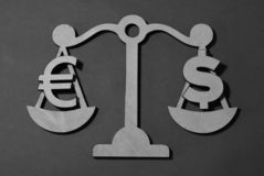 Dollar against the euro on the scales royalty free stock images