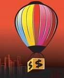 Dollar and air balloon Stock Photography