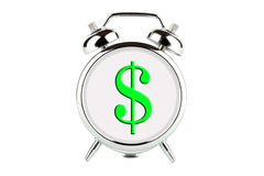 Dollar on a alarm clock Royalty Free Stock Photos