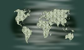 Dollar all over the world. Illustration showing the earth map filled with dollars as metaphor to the Dollar reserve of the world royalty free illustration