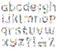 Dollar alphabet. 26 isolated small letters of English alphabet and other marks torn out from one hundred dollar bills Stock Photo