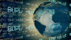Dollar als as van de wereld Lijnanimatie stock footage