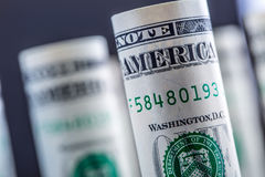 Dollar. American dollar banknotes rolled in different positions.  Stock Photography