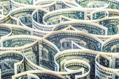 Dollar. American dollar banknotes rolled in different positions.  Stock Image