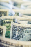 Dollar. American dollar banknotes rolled in different positions.  Royalty Free Stock Photo