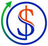 Dollar with arrow. Isolated illustrated logo design Stock Photo