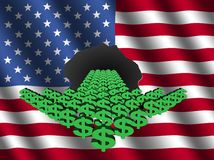 Dollar arrow with American flag Royalty Free Stock Image