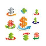 Business icons Dollar arrow gold  Royalty Free Stock Photos