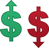 Dollar Arrow Up Down. Isolated dollar sign with arrow pointing up and arrow pointing down Stock Images