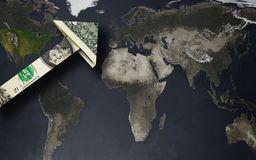 Dollar arrow on a world map Royalty Free Stock Image