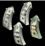 Dollar arrows. Four arrows designed from American dollars, pointing upwards, black background Royalty Free Stock Photography