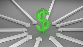 Dollar with Arrows Stock Image