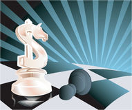 Dollar as chess pawn. With abstractive background Stock Photo