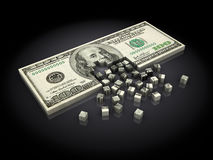 Dollar assembling. Abstract 3d illustration of dollar banknote building with cubes, over black background Stock Photo