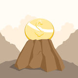 Dollar auf dem Felsen Stockfoto