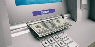 Dollar aus einer ATM-Maschine heraus Abbildung 3D Lizenzfreie Stockfotos