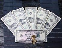 Dollar av en fem en fem Royaltyfria Bilder