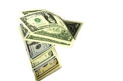 Dollar av olika valörer på vit bakgrund Royaltyfri Foto