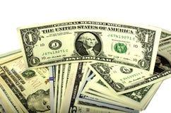 Dollar av olika valörer på vit bakgrund Royaltyfria Foton