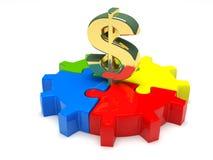 Dollar avec la pièce de puzzle d'isolement sur le fond blanc illustration 3D illustration libre de droits