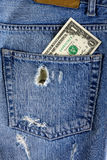 Dollar in the back pocket of jeans Royalty Free Stock Photography