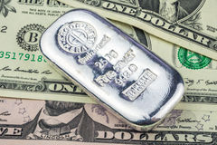 Dollar backed by precious metals Royalty Free Stock Photos