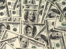 Dollar background. Background of hundred dollar bills Stock Images