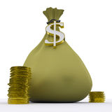 Dollar Bag Shows Money Earnings And Currency Royalty Free Stock Photos
