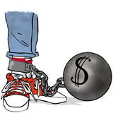 Dollar ball and chain. Young person shackled by ball and chain with dollar sign Royalty Free Stock Photo